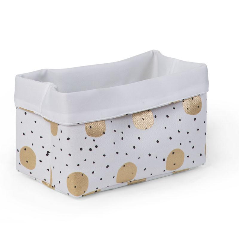 Childhome κουτί αποθήκευσης καμβάς 32x20x20 cm white gold dots