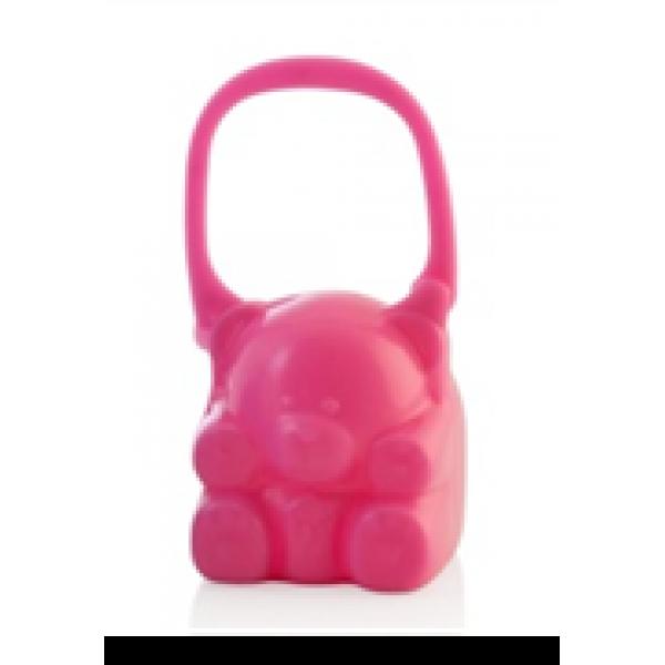 Miniland Θήκη πιπίλας αρκουδάκι με κλιπς ροζ