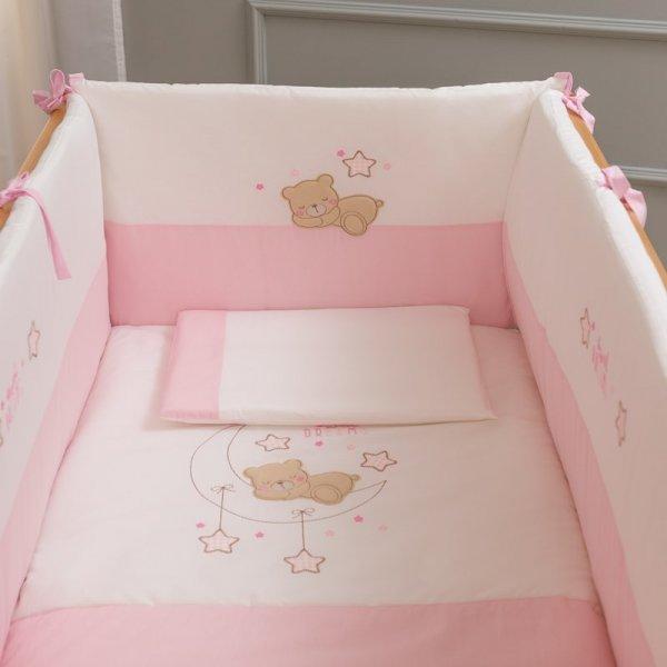 Funna baby Dream Pink Σετ προίκας 6 τεμαχ. Πάντα-Πάπλωμα-Κουνουπιέρα-Σεντόνια 3 τεμαχ.