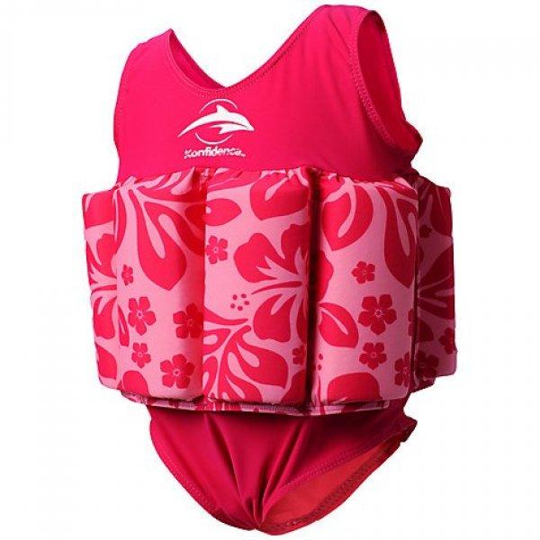 Konfidence Σωσίβιο - ολόσωμο μαγιό Floatsuit Pink Hibiscus 12-24  μηνών