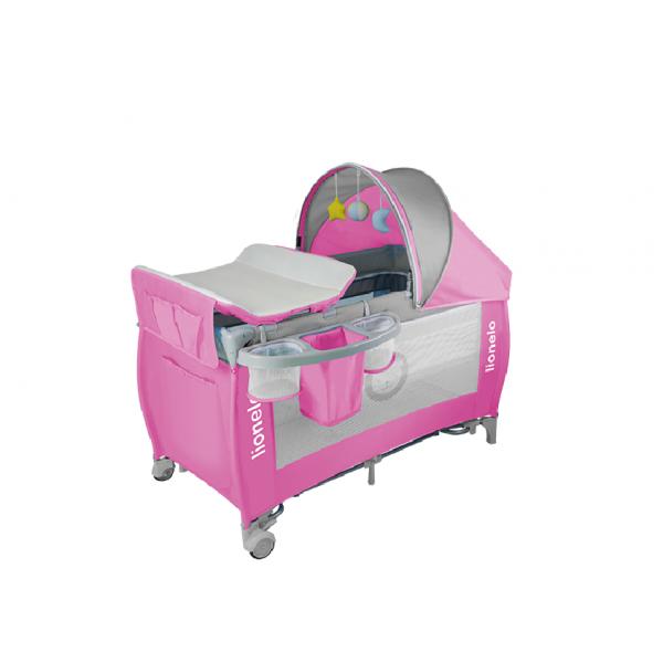 Lionelo παρκοκρέβατο Sven plus pink