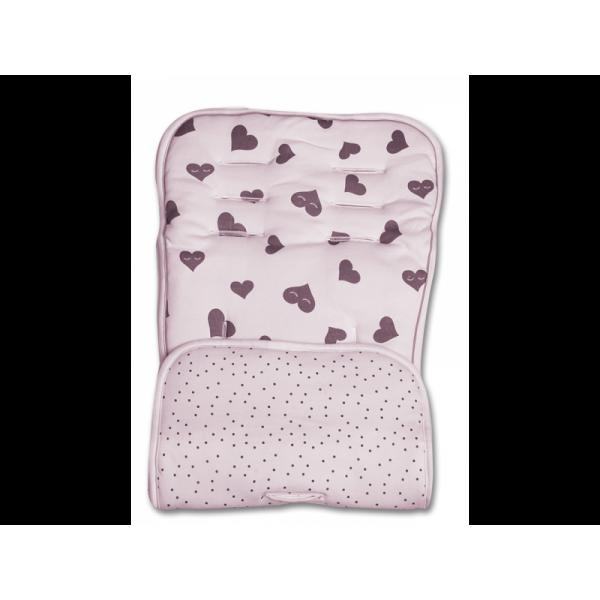 Minene κάλυμμα για το καρότσι και το κάθισμα αυτοκινήτου ροζ γκρι καρδιές