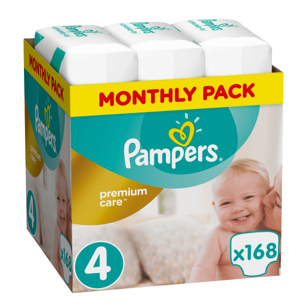 Pampers Premium care Monthly pack 168 τεμάχια Νο 4 (8-14 kg)