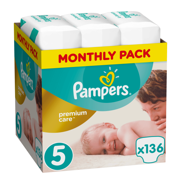 Pampers Premium care Monthly pack 136 τεμάχια Νο 5 (11-18 kg)