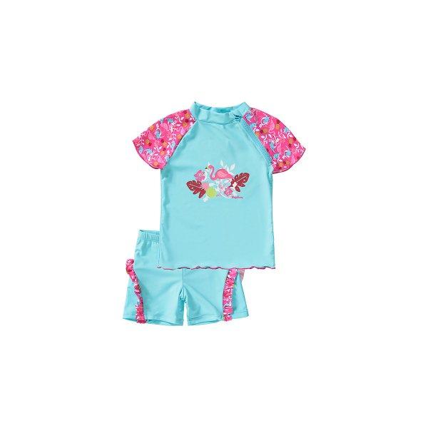 dfa367c3a95 Playshoes βρεφικό αντιηλιακό μαγιό σετ μπλουζάκι σορτσάκι turkis flamingo