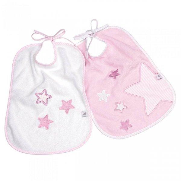 Fashy Little Stars Terry bib σαλιάρα ροζ 2 τεμ αστεράκια