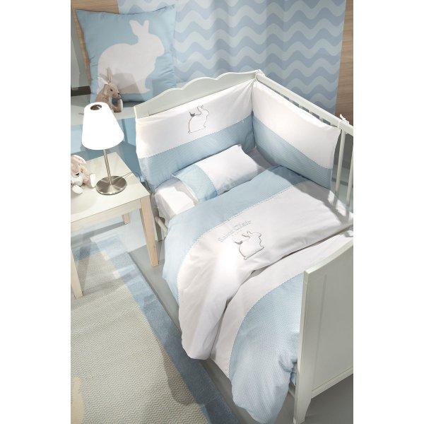 Saint Clair σετ προίκα  Lapin blue 5 τεμ (πάντα, πάπλωμα, παπλωματοθήκη, μαξιλάρι, μαξιλαροθήκη)