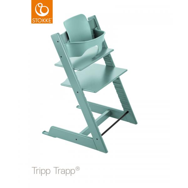 Stokke Tripp Trapp with baby set κάθισμα φαγητού Aqua Blue και Δώρο τα ζωνάκια