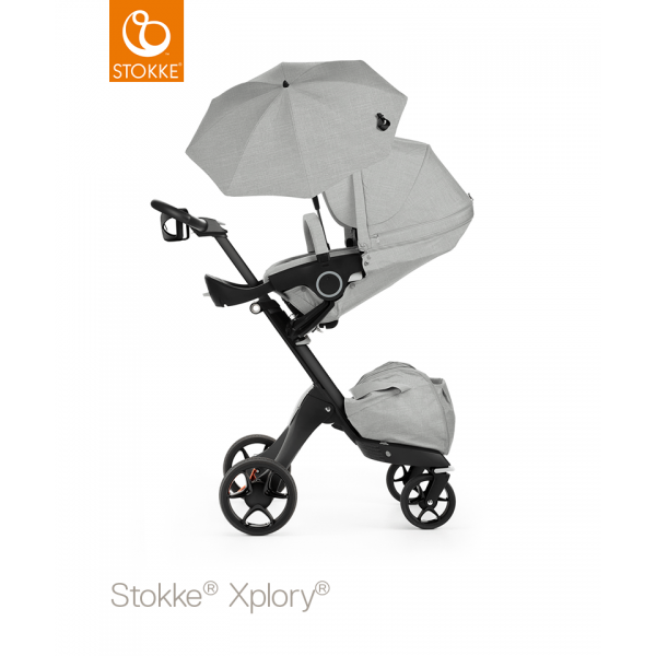 Stokke Xplory Black Chassis with Grey Melange seat
