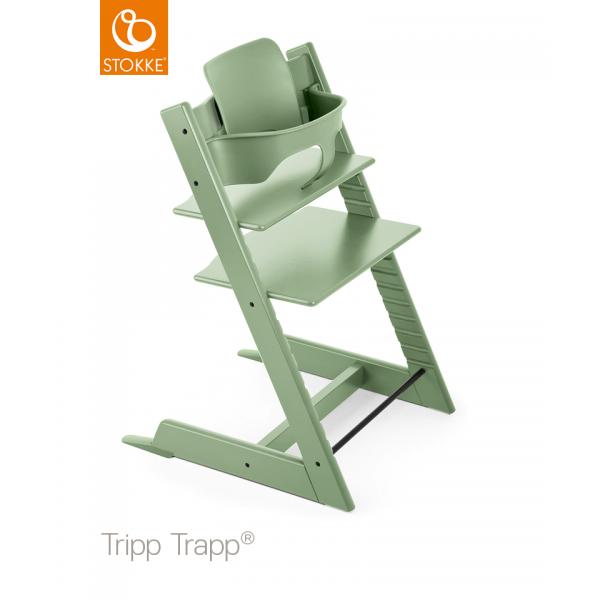 Stokke Tripp Trapp Moss green με Baby set και Δώρο τα ζωνάκια!